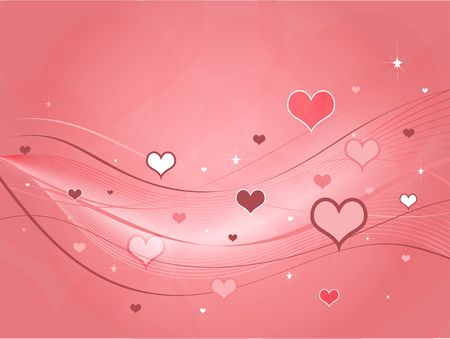 ribbon: Different shapes and shades of pink hearts against a pink background with swoops and ribbons.