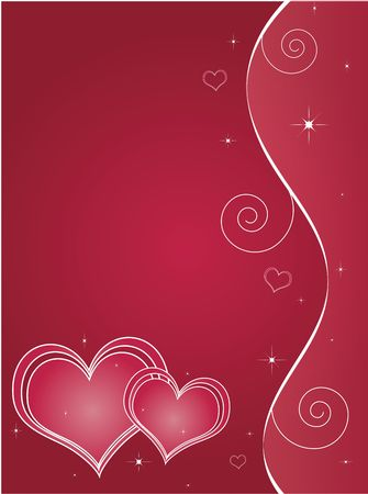 Red valentines day background with white ribbons and hearts. Banco de Imagens