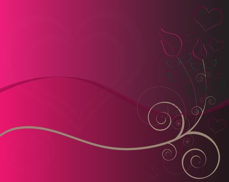 Pink and black gradient background with graphic roses, swirls, curls, and a blank area for text. photo