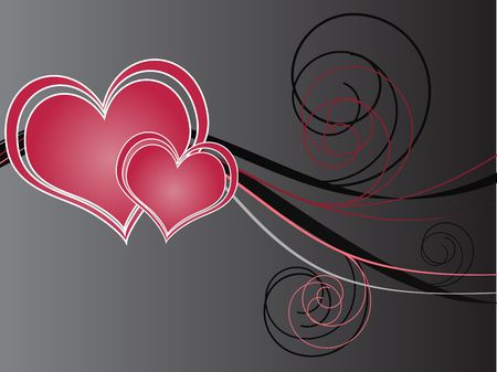 Pink hearts with abstract design against a grey and white gradient background. photo