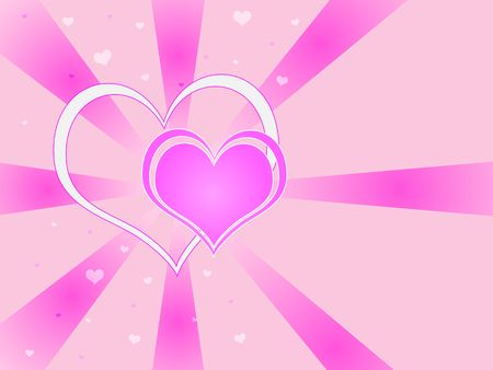 Two hearts against a pink vortex background. photo