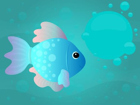 Cartoon fish underwater scene with text area in big bubble. Stock Photo - 2388383