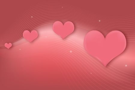 Pink glowing background with blend of lines and hearts getting larger. photo
