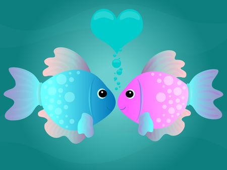 Two cartoon fish kissing in an underwater scene with love theme.