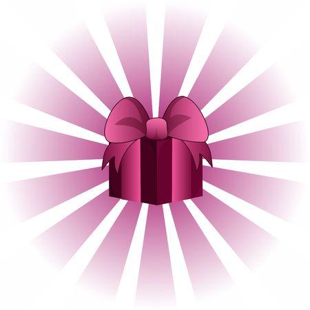 Pink 3d valentines giftbox against a lighter vortex background. photo