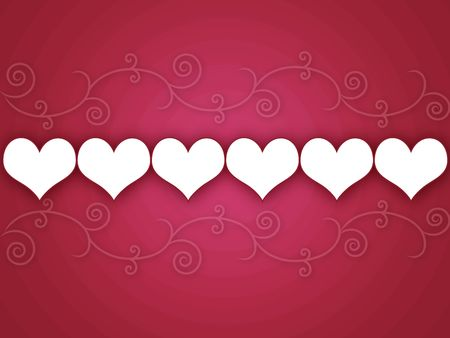 Hearts in a line against curls and swirls against a dark pink background with circles. photo