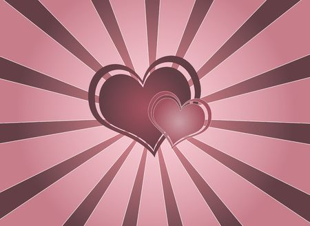 Graphic illustration of two pink hearts against vortex background.
