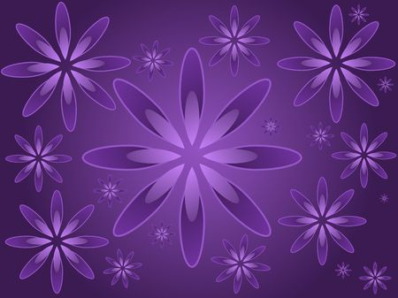 Graphic illustration of random sized flowers against a purple gradient background.