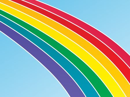 Graphic illustration of a large rainbow against a blue gradient background. Banco de Imagens