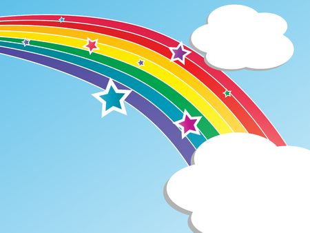 Graphic illustration of rainbow, clouds, and stars against a blue gradient background.