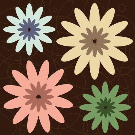 Graphic illustration of retro colored flowers against a brown background.