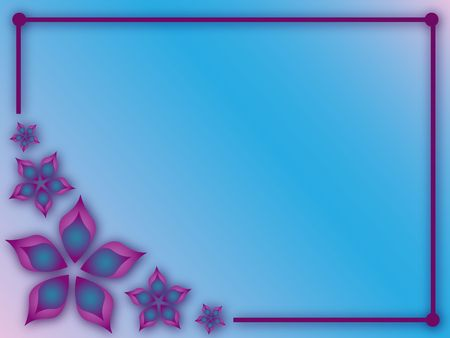abstract flowers: Graphic illustration of abstract gradient flowers purple frame and blue background. Stock Photo