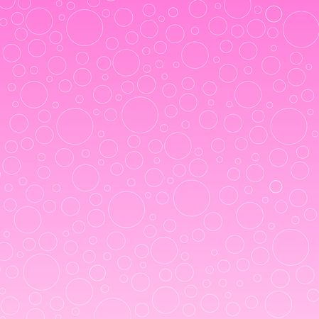 Graphic illustration of random sized bubbles against a pink gradient background.