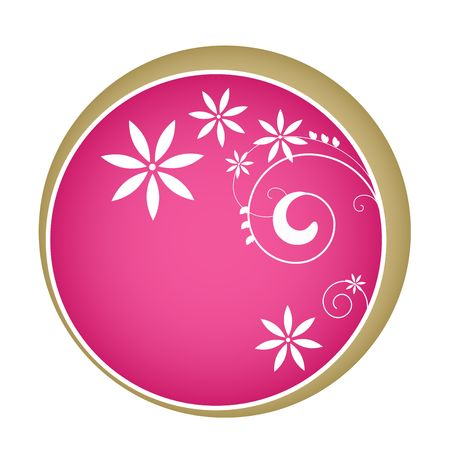 Graphic illustration of abstract design within a pink circle background with trim.