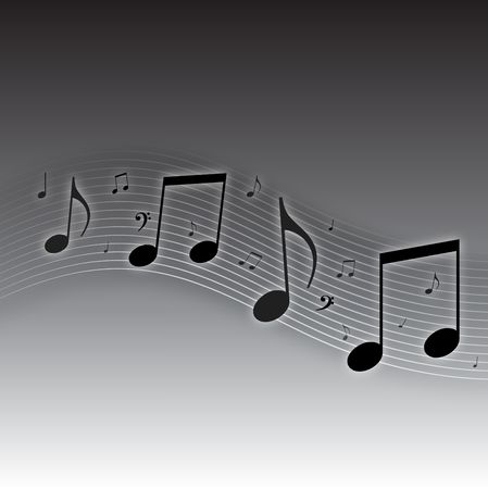 Graphic illustration of musical notes against a gradient black and white background.