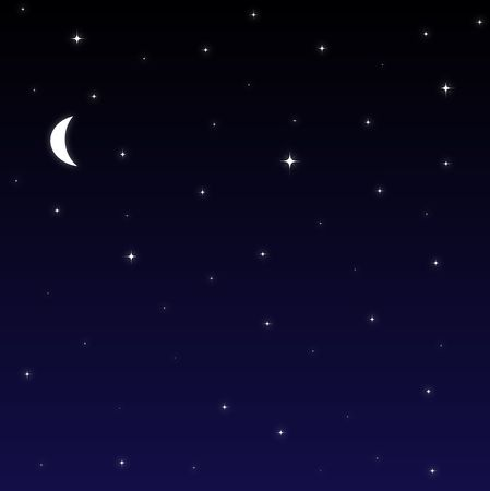 nightime: Graphic illustration of night sky with stars and moon.