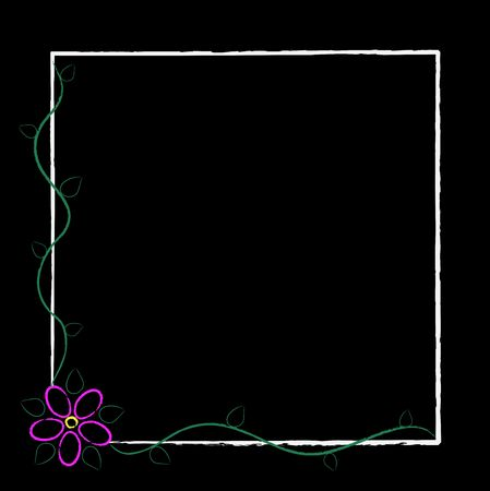 abstract flowers: Graphic illustration of grunge white frame with pink abstract flower and green vines and leaves.