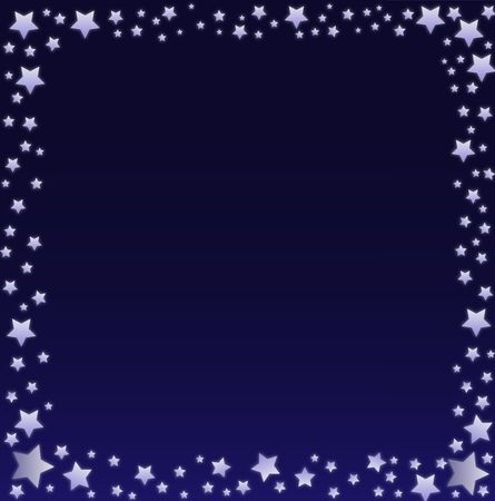 nite: Graphic illustration of glowing stars against a blue and black gradient background.