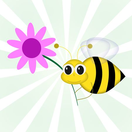 Graphic illustration of cartoon bee holding pink flower against green vortex background. illustration