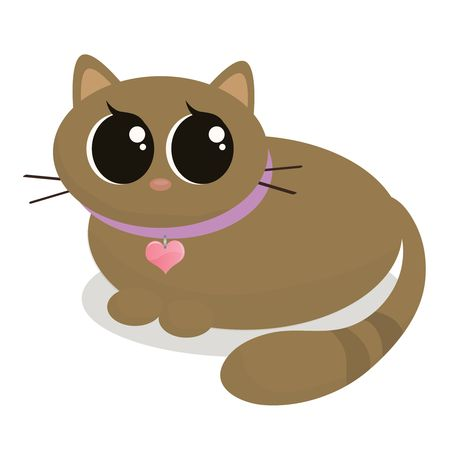 Graphic illustration of a plump, brown, cartoon cat.