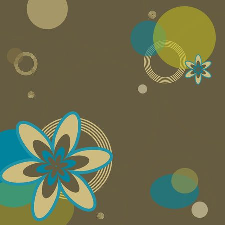 Graphic illustration of retro colored flowers and circles against brown background.