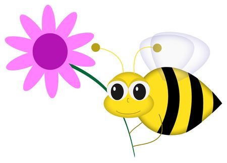 Graphic illustration of cartoon bee holding pink flower against white background. Banco de Imagens