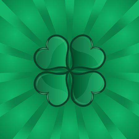 Graphic illustration of shiny shamrock against a green vortex background. Stock Illustration - 2734596
