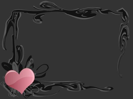 Graphic illustration of grunge frame border with pink heart against gray background.