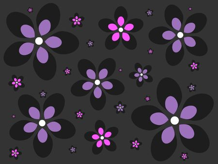 Graphic illustration of purple and pink flowers against a dark gray background. Stock Photo