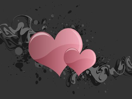 Graphic illustration of grungy lines and paint splatter with pink hearts against a gray background. Banco de Imagens