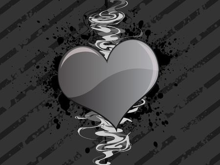 Graphic illustration of a dark grungy striped background with gray heart against black paint splatter and curly swirls.