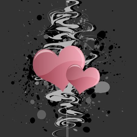 Graphic illustration of grungy abstract design with pink hearts against a gray background. Banco de Imagens