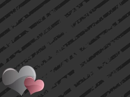 Graphic illustration of grungy striped background with two hearts in the bottom left corner. illustration