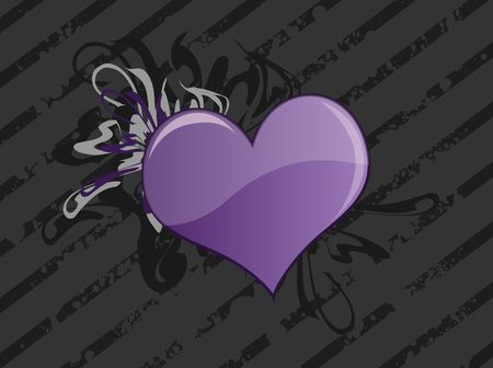 dark: Graphic illustration of a dark grungy striped background with purple heart against lighter curly swirls. Stock Photo