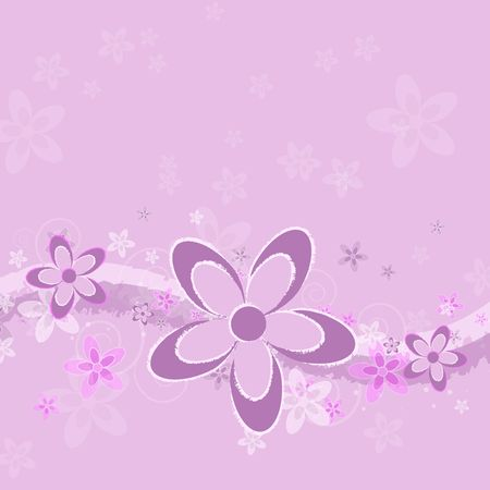 Graphic illustration of grungy abstract flowers in pink, white, and purple, with swoops against a lavender colored background.