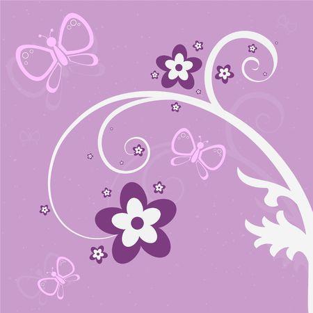 Grafische illustratie van roze en paarse vlinders en bloemen tegen een achtergrond lavendel.