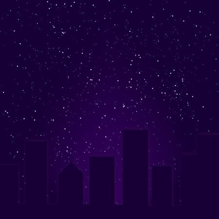 Graphic illustration of abstract skyline against starry night background. illustration