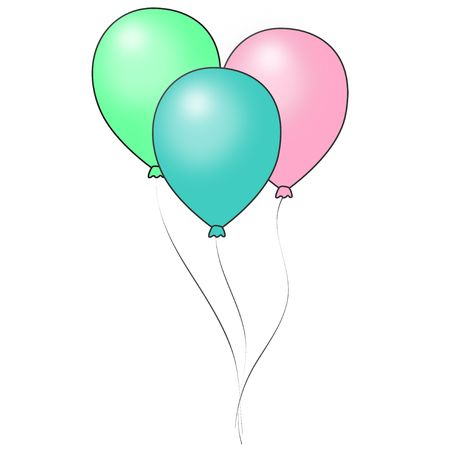 Graphic illustration of shiny pastel colored balloons with dark outline against a white background. Banco de Imagens