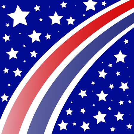bluer: Graphic illustration of gradient red and blue stripes against a bluer background with white stars. Stock Photo