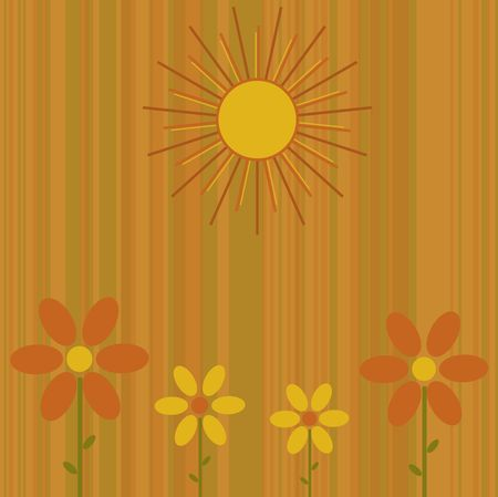 Graphic illustration of retro colored stripes with abstract flowers and sun.