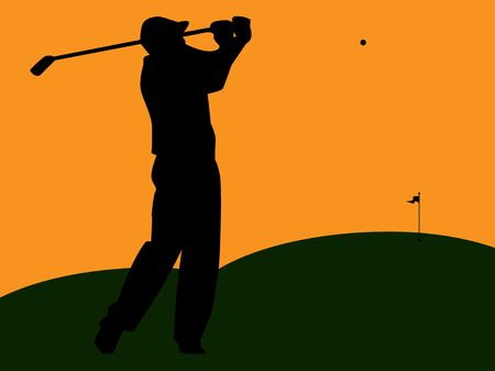 Graphic illustration of golfer silhouette swinging on green turf against an orange sky.
