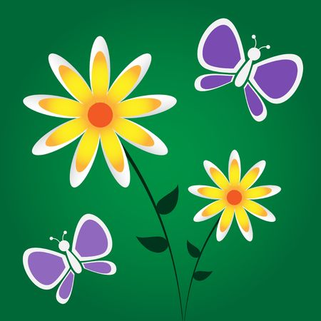 Graphic illustration of yellow and white flowers and purple butterflies against a dark green gradient background.