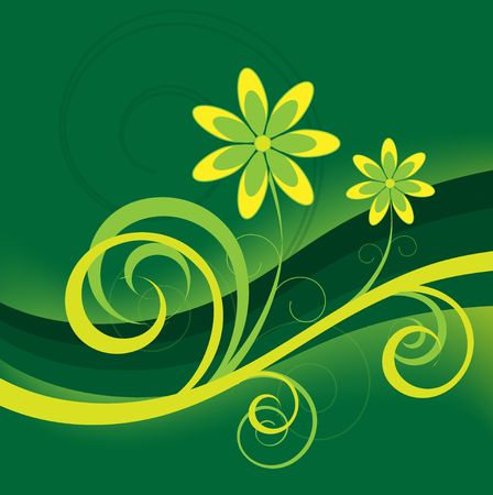 Graphic illustration of yellow flowers with green stripes and swirls against a gradient background.