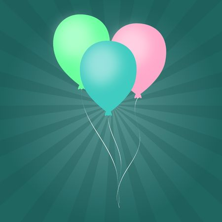 Graphic illustration of pastel colored balloons against an aqua colored vortex background.