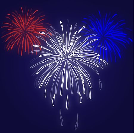 Graphic illustration of red white and blue fireworks against a blue gradient background.