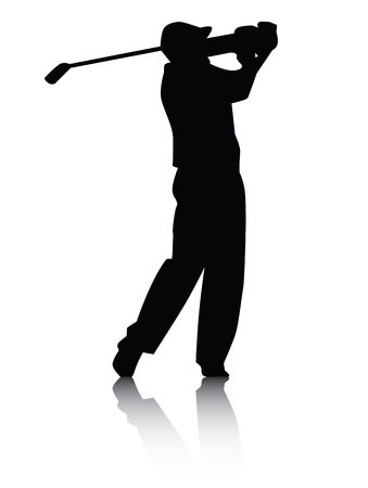 Vector illustration of a golfer swinging club silhouette with reflection in black on white background. Banco de Imagens