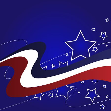Graphic illustration of red white and blue stripes and stars against a blue gradient background.