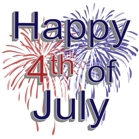 Graphic illustration of red, white, and blue fireworks with 3d text happy 4th of july on a white background. Banco de Imagens
