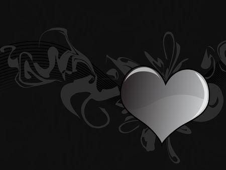Graphic illustration of shiny heart against abstract swoops on a dark gray background. illustration