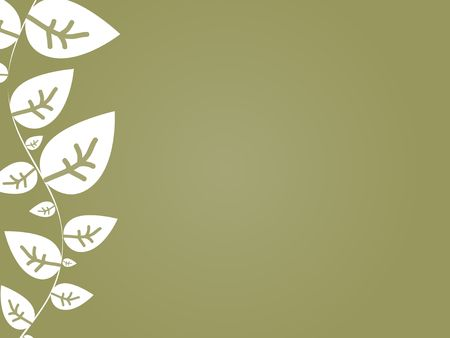 Graphic illustration of abstract white leaves against a tan radial gradient background.